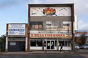 Mega Fireworks shop on 14th December 2020 in Birmingham, United Kingdom. This store sells fireworks all year round and is a well known landmark in the city.