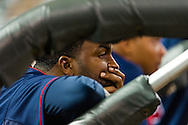 Minnesota Twins center fielder Denard Span looks on from the dugout during a game against the Oakland Athletics on July 13, 2012 at Target Field in Minneapolis, Minnesota.  The Athletics defeated the Twins 6 to 3.  © 2012 Ben Krause