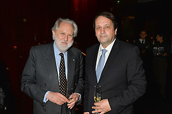 Left to right, LORD PUTTNAM and SYLVAIN ERCOLI at the Launch Of Alain Ducasse's Rivea Restaurant At The Bulgari Hotel, 171 Knightsbridge, London on 8th May 2014.