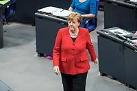21 MAR 2019, BERLIN/GERMANY:<br /> Angela Merkel, CDU Bundeskanzlerin, waehrend der Bundestagsdebatte zur Regierungserklaerung der Bundeskanzlerin zum Europaeischen Rat, Plenum, Deutscher Bundestag<br /> IMAGE: 20190321-01-093