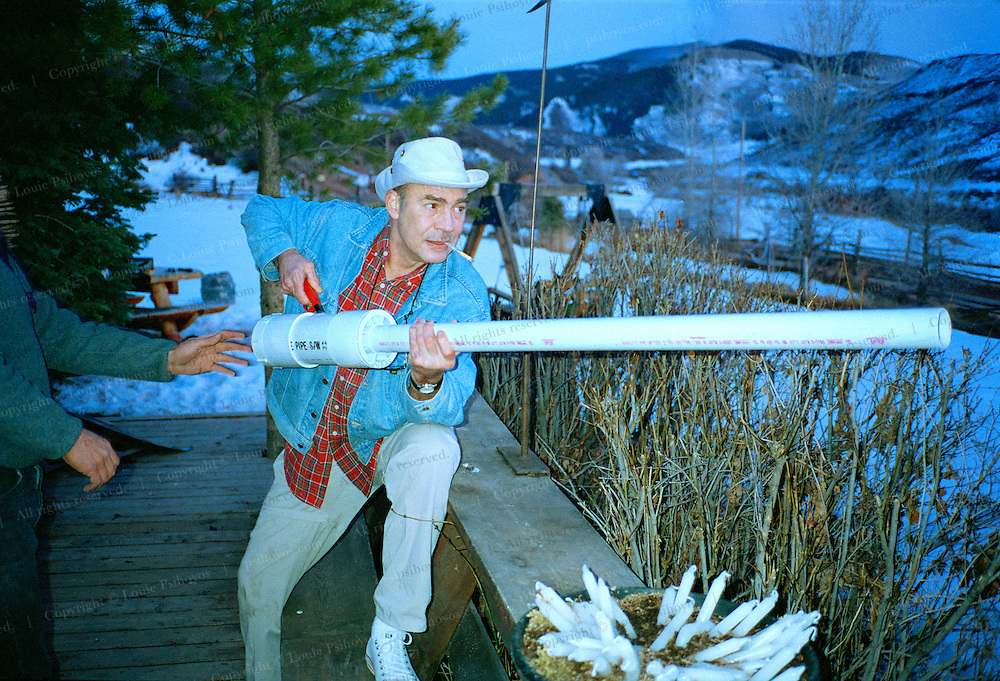 Hunter S. Thompson, author of Fear and Loathing in Las photographed at his fortified compound near Woody Creek, Colorado with a spud launcher (potatoe gun).