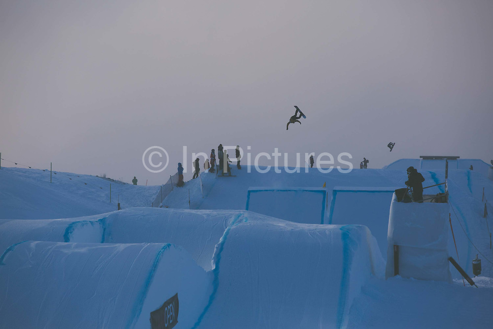 Scotish professional snowboarder, Matt McCormick during the 2017 Laax Open Slopestyle competition on 17th January 2017 in Laax, Switzerland. The Laax Open is a FIS Snowboarding World Championship competition in Laax ski resort.