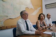 EUROPE, Cyprus, Nicosia. Paul-Henri Arni, left,  Third Member of UNFICYP with his Committee for Missing Persons in Cyprus colleagues. Turkish Cypriot Member Gülden Plümer Küçük, centre, and Greek Cypriot Member Nestoras Nestoros, right.