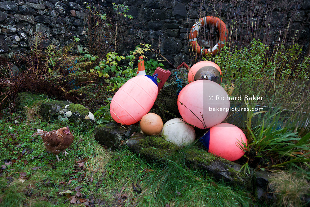 Hen and fishing boat equipment at the Old Smithy, Pennyghael, Isle of Mull, Scotland. http://www.pennyghael.org.uk/Community/Storage/index.htm