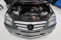 Detail of Mercedes Class B Fuel Cell vehicle motor at the Geneva Motor Show 2011 Switzerland