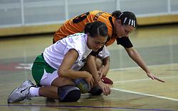 Mirjana Gojkovic of Olimpija and Helena Sosko at  handball game between women team RK Olimpija vs ZRK Brezice at 1st round of National Championship, on September 13, 2008, in Arena Tivoli, Ljubljana, Slovenija. Olimpija won 41:17. (Photo by Vid Ponikvar / Sportal Images)