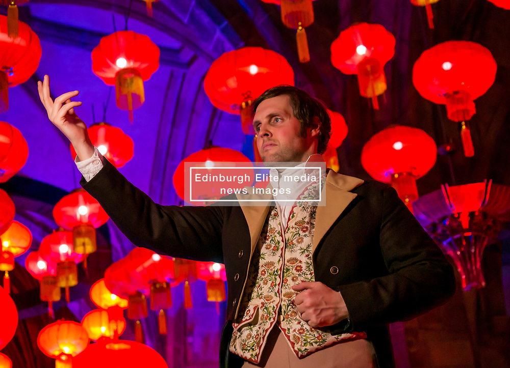 Burns & Beyond Launch, St Giles' Cathedral, Edinburgh, Scotland, United Kingdom, {{day0}  January 2020. The 2020 Burns & Beyond Festival with Johnnie Walker celebrates the best of Scottish culture in the Scottish capital over four days from 23 to 26 January. This year Burns Night coincides with Chinese New Year (an alignment of dates that will not happen again for another 76 years) and the two Festivals join for a special programme of events across Edinburgh including music and spoken word events celebrating the National Bard. The Chinese Lanterns at St Giles' Cathedral can be seen from 23rd January to 1st February 2020. Pictured: Gareth Morrison as Rabbie Burns.<br /> Sally Anderson   EdinburghElitemedia.co.uk