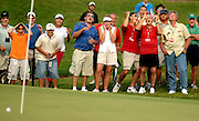 The gallery reacts to a missed putt by Joey Sindelar on the 8th green during the second round of the B.C. Open at the Atunyote Golf Club in Vernon, NY, Friday, July 21, 2006.