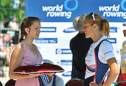 Belgrade, SERBIA.  CZE W1X, Mirka KNAPKOVA right has a look at the Silver medal, before the medal presentation. Women's Single Sculls 2012 FISA World Cup I   Sunday  06/05/2012   [Manatory Credit. Peter Spurrier/Intersport Images],