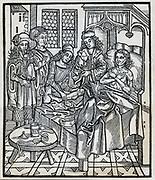 Surgeon examining a patient. From 'Chirugie', 1497, by Hieromnymus Brunschweig.