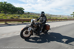 Stage 10 (278 miles) of the Motorcycle Cannonball Cross-Country Endurance Run, which on this day ran from Golden to Grand Junction, CO., USA. Monday, September 15, 2014.  Photography ©2014 Michael Lichter.