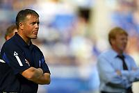 Photo Aidan Ellis.<br />Leicester City v Southampton (FA Barclaycard Premiership) 16/08/2003.<br />The managers Micky Adams and Gordon Strachan.