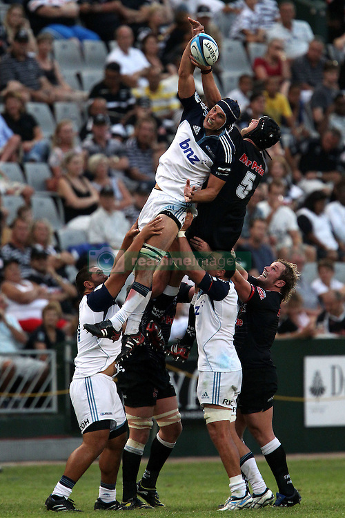 Anthony Boric of The Blues wins the lineout ball during the Super15 match between The Mr Price Sharks and The Blues held at Mr Price Kings Park Stadium in Durban on the 26th February 2011..Photo By:  Ron Gaunt/SPORTZPICS