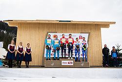 February 24, 2019 - Seefeld In Tirol, AUSTRIA - 190224 Silver medalists Gleb Retivykh and Alexander Bolshunov of Russia, gold medalists Johannes HÂ¿sflot Kl¾bo and Emil Iversen of Norway and bronze medalists Simeon Hamilton and Erik Bjornsen of USA at the flower ceremony after the men's team sprint during the FIS Nordic World Ski Championships on February 24, 2019 in Seefeld in Tirol..Photo: Joel Marklund / BILDBYRN / kod JM / 87889 (Credit Image: © Joel Marklund/Bildbyran via ZUMA Press)