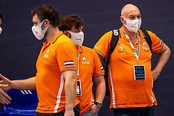 Crew Hans Nieuwenhuis of the Netherlands disappointed against Montenegro during the Olympic qualifying tournament. The Dutch water polo players are on the hunt for a starting ticket for the Olympic Games on February 19, 2021 in Rotterdam