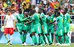 MOSCOW, June 19, 2018  Players of Senegal celebrate scoring during a Group H match between Poland and Senegal at the 2018 FIFA World Cup in Moscow, Russia, June 19, 2018. (Credit Image: © Xu Zijian/Xinhua via ZUMA Wire)