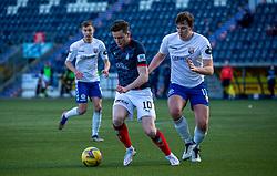 20MAR21 Falkirk's Anton Dowds and Montrose Jamie Redman. Falkirk 2 v 0 Montrose, Scottish Football League Division One game played 20/3/2021 at The Falkirk Stadium.