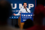 """DULUTH, MN – SEPTEMBER 9: Donald Trump, Jr. speaks to the crowd of around 250 people at a """"Make America Great Again"""" rally in Duluth, Minnesota on Wednesday, Sept. 9, 2020."""