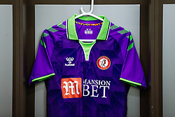 Bristol City's new 2020/21 purple and lime Away Match Shirt hangs in the home dressing room ahead of the game - Rogan/JMP - 21/08/2020 - Ashton Gate Stadium - Bristol, England - Bristol City v Cheltenham Town - Pre Season Friendly.