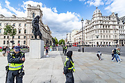 British mounted police officers secure the area of the Winston Churchill monument near Parliament Square in Central London, on Saturday, July 11, 2020 - prior to the arrival of a group of demonstrators marching from the US Embassy in East London, towards Westminster. This is the seventh weekend of protests, which are organised by the Black Lives Matter. <br /> Monuments have become major focuses of contention in demonstrations against racism and police violence during May-June this year. Far-right groups threatened to deface Nelson Mandela's and Mahatma Gandhi's monuments, whilst anti-racist protestors accused Churchill of racism and threatened to deface his monument.<br /> Anger against systemic levels of institutional racism have raged through the city, and worldwide; sparked by the death of George Floyd who died on May 25 after he was restrained by Minneapolis police in the United States. (VXP Photo/ Vudi Xhymshiti)