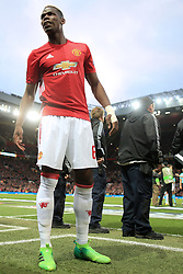 20th April 2017 - UEFA Europa League - Quarter Final - Manchester United v Anderlecht - Paul Pogba of Man Utd waits by the edge of the pitch before the match - Photo: Simon Stacpoole / Offside.