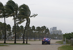Miami Beach Police on patrol as the outer bands of Hurricane Irma reach South Florida early on Saturday, September 9, 2017. Photo by David Santiago/El Nuevo Herald/TNS/ABACAPRESS.COM