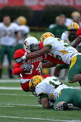 25 October 2008: Mike Meresh and Cyrus Lemon bring down Parris Fisher in a game which the North Dakota Bison defeated the Illinois State Redbirds at Hancock Stadium on campus of Illinois State University in Normal Illinois
