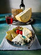 Traditional blue Stilton cheese and biscuits stock photos