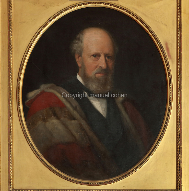 Portrait of the Duke of Leinster, by Lehmann, oil painting on canvas, in the Small Drawing Room, in Malahide Castle, originally built in the 12th century by the Talbot family, and home to them for almost 800 years, near Malahide in County Dublin, Ireland. Malahide castle is situated in a 260 acre estate, the Malahide Demesne Regional Park, and is home to the Talbot Botanical Gardens. Picture by Manuel Cohen