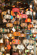 Ornate lamps lanterns inside The Grand Bazaar, Kapalicarsi, great market in Beyazi, Istanbul, Republic of Turkey