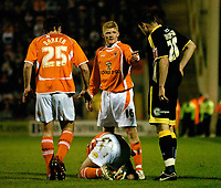 MATTHEW POVER PICTURE                                                +447971 184305<br /> <br /> 11/12/07 .... Blackpool v Cardiff<br /> Blackpool's Claus Jorgensen confronts Cardiff's Steve Thompson after his foul on Gary Taylor-Fletcher.