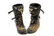 Well worn set of motorcycle boots
