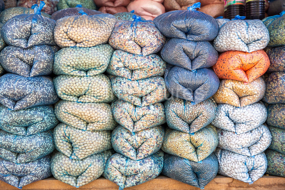 Pulses, beans and peas in bags for sale in the bazaar outside Malekhu Petrol station on the 3rd of March 2020 in Malekhu Benighat region, Nepal.  Malekhu is a small town situated between the river Trishuli and the H04 Kathmandu to Pokhara road in the Benighat region of Nepal.
