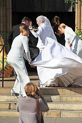 Ellie Goulding arrives at York Minster for her wedding to Caspar Jopling.