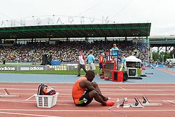 men's 200 meters, start, Nickel Ashmeade, JAM, prepares for race