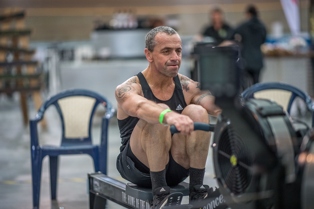 Anton Richter-Visser (UK) MALE LIGHTWEIGHT Masters C 2K Race #1 08:30am<br /> <br /> www.rowingcelebration.com Competing on Concept 2 ergometers at the 2018 NZ Indoor Rowing Championships. Avanti Drome, Cambridge,  Saturday 24 November 2018 © Copyright photo Steve McArthur / @RowingCelebration