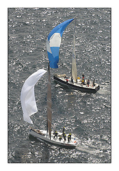 Sailing - The 2007 Bell Lawrie Scottish Series hosted by the Clyde Cruising Club, Tarbert, Loch Fyne..Brilliant first days conditions for racing across the three fleets...IRC Class 1 Tiso Thunderbird GBR5440R and GBR9641R Local Hero downwind.