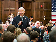 "04 DECEMBER 2019 - AMES, IOWA: Former Vice President JOE BIDEN speaks at a campaign event in Ames Wednesday. Vice President Biden is touring Iowa this week on his ""No Malarkey"" bus tour. He spoke at Iowa State University. Iowa hosts the first presidential selection event of the 2020 election cycle. The Iowa caucuses are on February 3, 2020.          PHOTO BY JACK KURTZ"