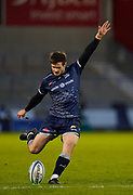 Sale Sharks fly-half AJ McGinty during the Gallagher Premiership Rugby match Sale Sharks -V- Wasps  at The AJ Bell Stadium, Greater Manchester, England United Kingdom, Sunday, December 27, 2020. (Steve Flynn/Image of Sport)