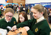 27/11/2016 REPRO FREE:  Aisling Conneely (11), Lisa Cronin (12) and Ciara Gill (12) from St Vincent's N.S., Cool Arneenjoythe Medtronic exhibitioninNUI Galway as part of the Galway Science & Technology Festival. Photo: Andrew Downes, Xposure.