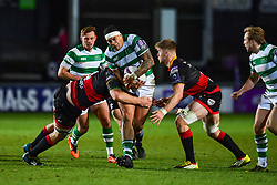 Newcastle Falcons' Josh Matavesi is tackled by Dragons' Aaron Wainwright<br /> <br /> Photographer Craig Thomas/Replay Images<br /> <br /> EPCR Champions Cup Round 4 - Newport Gwent Dragons v Newcastle Falcons - Friday 15th December 2017 - Rodney Parade - Newport<br /> <br /> World Copyright © 2017 Replay Images. All rights reserved. info@replayimages.co.uk - www.replayimages.co.uk