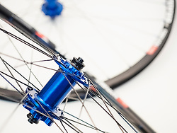 Close-up of light weight bicycle wheels