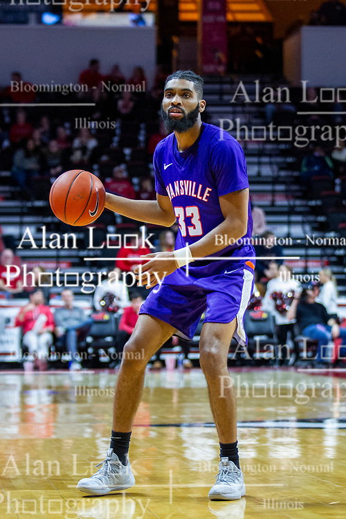 NORMAL, IL - January 29: K.J. Riley during a college basketball game between the ISU Redbirds and the University of Evansville Purple Aces on January 29 2020 at Redbird Arena in Normal, IL. (Photo by Alan Look)