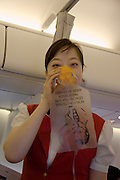 A Korean Air Boeing 737-800 flying from Jeju island to Kwangju. Safety instructions.