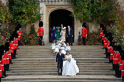 Princess Eugenie and Jack Brooksbank as they leave after their wedding at St George's Chapel in Windsor Castle, Windsor.