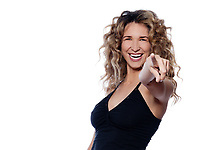 beautiful caucasian woman pointing cheerful portrait isolated studio on white background