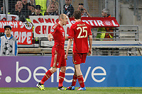 FOOTBALL - UEFA CHAMPIONS LEAGUE 2011/2012 - 1/4 FINAL- 1ST LEG - OLYMPIQUE MARSEILLE v BAYERN MUNCHEN - 28/03/2012 - PHOTO PHILIPPE LAURENSON / DPPI - JOY ARJEN ROBBEN (BAY) AFTER HIS GOAL WITH THOMAS MULLER