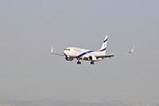 Israel, Ben-Gurion international Airport El Al Boeing 737-800 landing