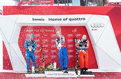 29.12.2017, Stelvio, Bormio, ITA, FIS Weltcup, Ski Alpin, alpine Kombination, Herren, Siegerehrung, im Bild v.l. Peter Fill (ITA, 2. Platz), Alexis Pinturault (FRA, 1. Platz), Kjetil Jansrud (NOR, 3. Platz) // f.l. second placed Peter Fill of Italy, race winner Alexis Pinturault of France, third placed Kjetil Jansrud of Norway during the winner Ceremony for the men's Alpine combination of FIS Ski Alpine World Cup at the Stelvio course, Bormio, Italy on 2017/12/29. EXPA Pictures © 2017, PhotoCredit: EXPA/ Johann Groder