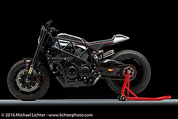 A Harley-Davidson XG750 racer built by Shaun and Aaron Guardado of Suicide Machine in Long Beach, CA. Photographed by Michael Lichter in Sturgis, SD on August 2, 2016. ©2016 Michael Lichter.